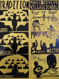 Voici un dessin produit par The Three Rivers School, une école démocratique à Pittsburgh