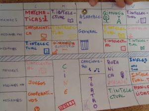 L'horaire hebdomadaire est divisé en trois groupes et propose une activité l'avant-midi et une l'après-midi.