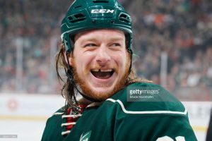 ST. PAUL, MN - MARCH 5: Ryan White #21 of the Minnesota Wild laughs with his teammates during the game against the San Jose Sharks on March 5, 2017 at the Xcel Energy Center in St. Paul, Minnesota. (Photo by Bruce Kluckhohn/NHLI via Getty Images) *** Local Caption *** Ryan White
